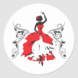 Elegant silhouette woman in dance Floral ornament Round Sticker