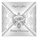 Elegant Silver 25th Wedding Anniversary Damask 13 Cm X 13 Cm Square Invitation Card