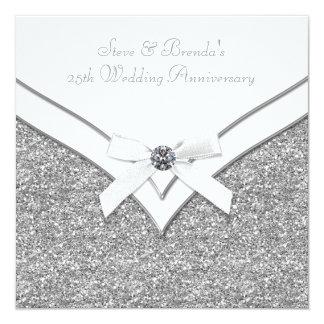 Elegant Silver 25th Wedding Anniversary Party 13 Cm X 13 Cm Square Invitation Card
