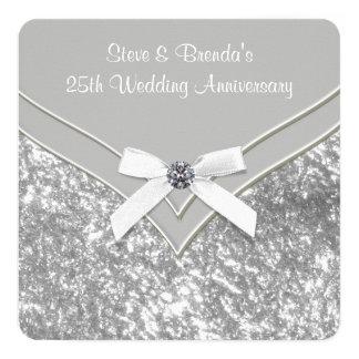 Elegant Silver 25th Wedding Anniversary Party Card