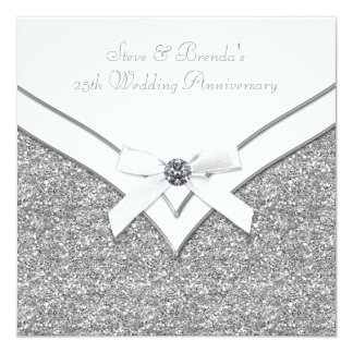 Elegant Silver 25th Wedding Anniversary Party Card