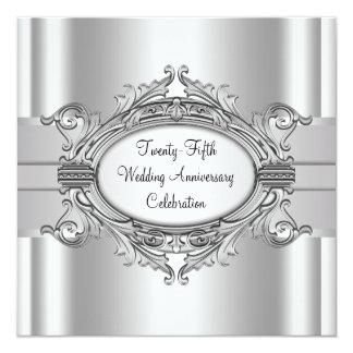 Elegant Silver 25th Wedding Anniversary Party Custom Invite