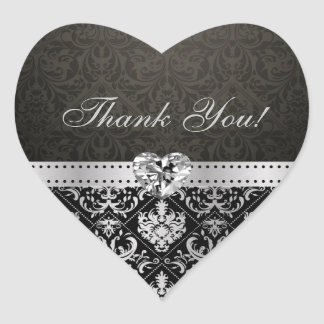 Elegant Silver and Black Damask Thank You Stickers