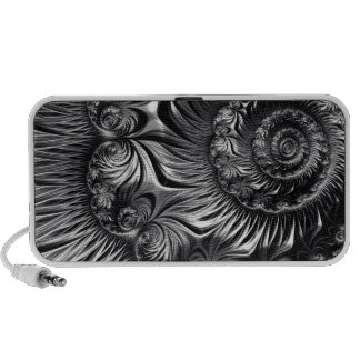 Elegant Silver and Black Fractal Art Travelling Speakers