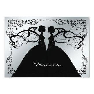 Elegant Silver and Black Gay Lesbian Wedding Invit 13 Cm X 18 Cm Invitation Card