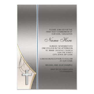 Elegant Silver and Gold First Communion Invitation