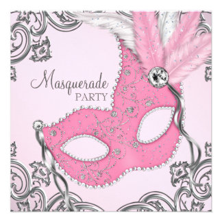 Elegant Silver and Pink Masquerade Party Invites