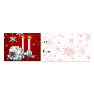 Elegant Silver and Red Christmas Gift Tag Business Card Templates