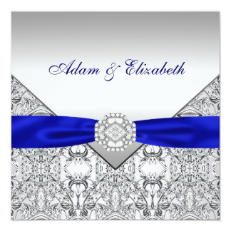 Elegant Silver and Royal Blue Wedding Invitations