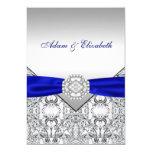 "Elegant Silver and Royal Blue Wedding Invitations 5"" X 7"" Invitation Card"