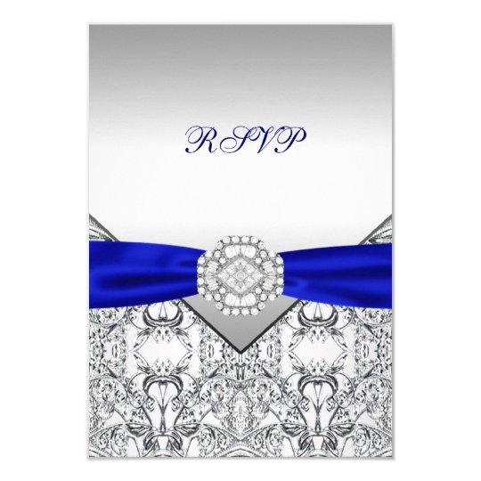 Elegant Silver and Royal Blue Wedding RSVP Card