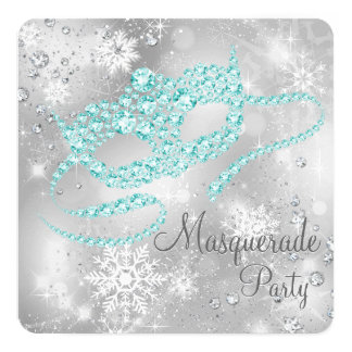 Elegant Silver and Teal Blue Masquerade Party Personalized Invite