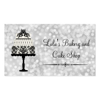 Elegant Silver Bakery Business Card with Cake