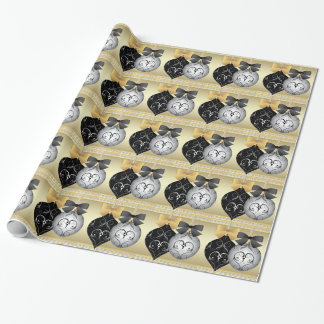 Elegant Silver Black and Gold Christmas Wrapping Wrapping Paper