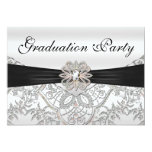 Elegant Silver Black and Pink Graduation Party 13 Cm X 18 Cm Invitation Card