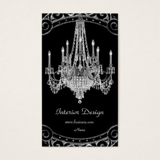 Elegant Silver Black Chandelier Interior Design Business Card