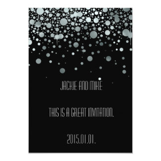 Elegant Silver Black Foil Invitation