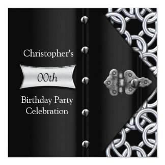 "Elegant Silver Black Metal Chain Birthday Party 5.25"" Square Invitation Card"