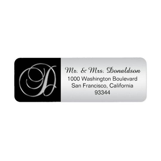 Elegant Silver Black Monogram Letter 'D' Return Return Address Label