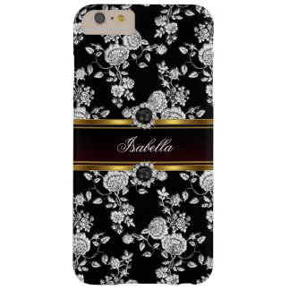 Elegant Silver black Rose Damask jewel Gold Barely There iPhone 6 Plus Case