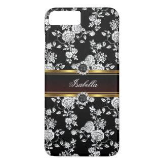 Elegant Silver black Rose Damask jewel Gold iPhone 7 Plus Case