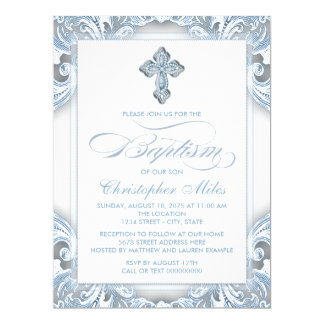 Elegant Silver Blue Baptism 17 Cm X 22 Cm Invitation Card