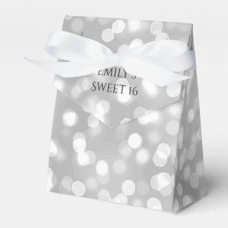 Elegant Silver Bokeh Birthday Party Sweet 16 Party Favour Box