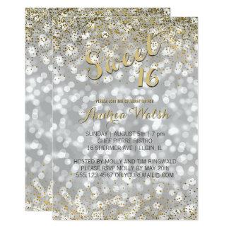 Elegant Silver Bokeh Lights Gold Confetti Sweet 16 Card
