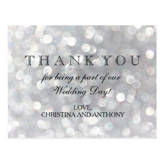 Elegant Silver Bokeh Lights Wedding Thank You Note Postcard
