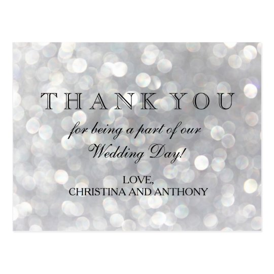 Elegant Silver Bokeh Lights Wedding Thank You Note