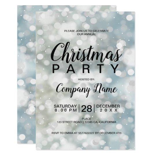 Elegant silver bokeh snow corporate Christmas Card