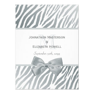 Elegant Silver Bow Zebra Print Monogram Wedding 17 Cm X 22 Cm Invitation Card