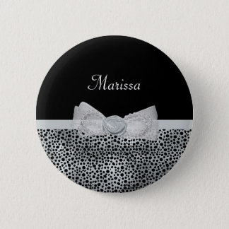 Elegant Silver Cheetah Print Frilly Bow With Name 6 Cm Round Badge