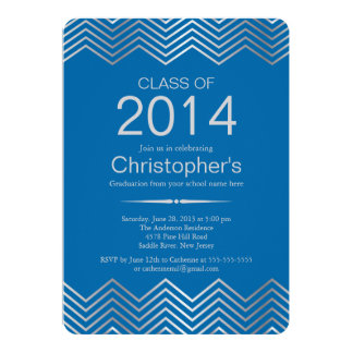 Elegant Silver Chevron Graduation Party Invitation