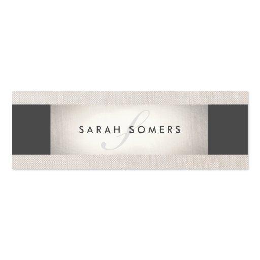 Elegant Silver Chic Striped Beige Monogram Business Card