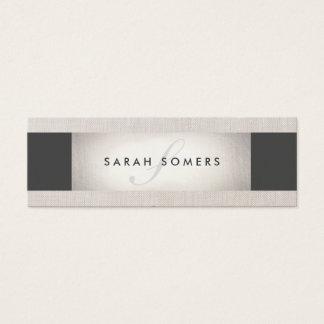 Elegant Silver Chic Striped Beige Monogram Mini Business Card