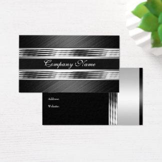 Elegant Silver Chrome Metal Black 2 Business Card