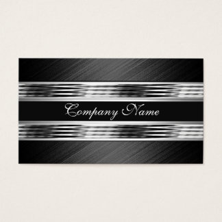 Elegant Silver Chrome Metal Black 2 Business Card