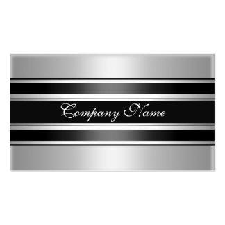 Elegant Silver Chrome Metal Black Business Card Templates