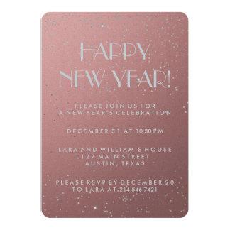 Elegant Silver Confetti Happy New Year on Pink 13 Cm X 18 Cm Invitation Card