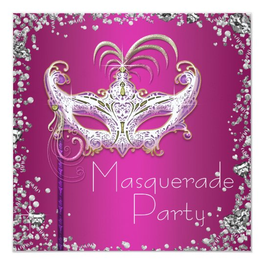 Elegant Silver Confetti Hot Pink Masquerade Party Card
