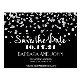 Elegant Silver Confetti Lights Save the Date Postcard