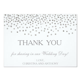 Elegant Silver Confetti Wedding Thank You Note Card