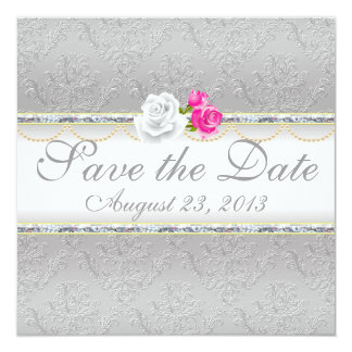 Elegant Silver Damask and Pink Rose Save the Date 13 Cm X 13 Cm Square Invitation Card