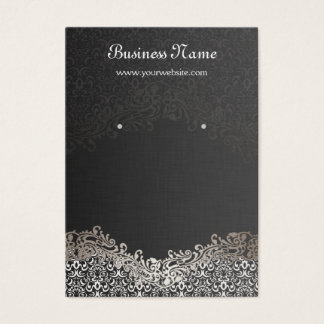 Elegant Silver Damask Earring Display Cards