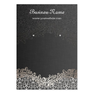 Elegant Silver Damask Earring Display Cards Large Business Cards (Pack Of 100)