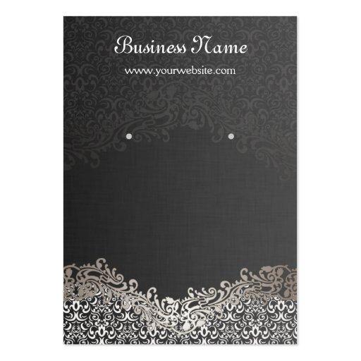 Elegant Silver Damask Earring Display Cards Business Cards