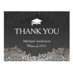Elegant Silver Damask Graduation Thank You Postcard