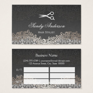 Elegant Silver Damask Hair Salon Multi Appointment Business Card