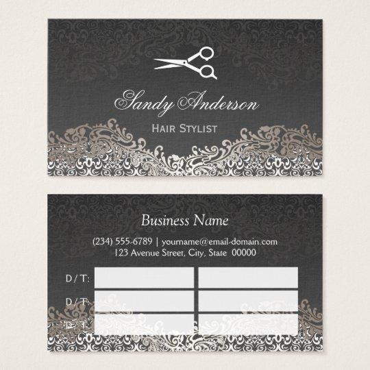 Elegant Silver Damask Hair Salon Multi Appointment Business